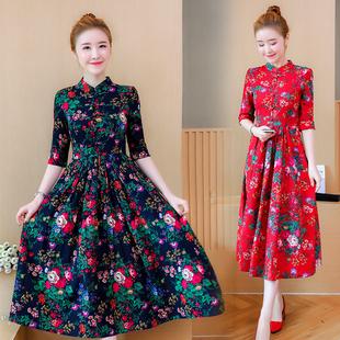 连衣裙女春季新款民族风女装五分袖复古印花棉麻显瘦中长款裙子