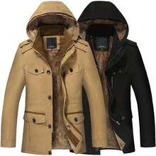 Mens parkas winter Hooded Coat casual outwear large size cotton jacket for men