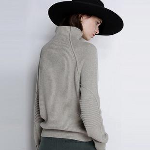 升级版不起球2019秋冬新款欧洲站套头坑条柔软羊绒衫针织衫毛衣女