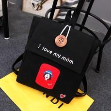 韩版潮印花字母双肩包女学院风帆布中学生书包休闲旅行背包原宿风