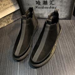 2018冬季新款男鞋加绒一脚蹬复古休闲皮鞋低帮韩版精神小伙鞋子潮