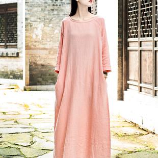 2018春季新款原创肌理棉麻连衣裙女宽松显瘦长袖袍子气质打底长裙