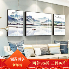 新中式招财风水客厅沙发背景墙装饰画简约大气高档三联轻奢晶瓷画