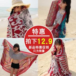 丝巾女夏季海边旅游拍照防晒披肩围巾两用沙滩巾超大百搭海滩纱巾夏季围巾