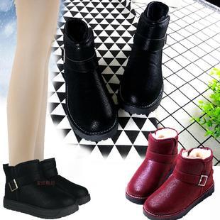 暖老大正品雪地靴平底短靴冬加绒防水防滑保暖棉鞋短筒女