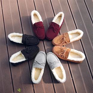 豆豆鞋女韩版女鞋2018新款冬保暖棉鞋学生懒人瓢鞋百搭加绒毛毛鞋