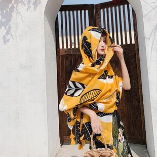 防晒披肩女两用夏季韩版棉麻手感围巾丝巾海边度假旅游拍照沙滩巾