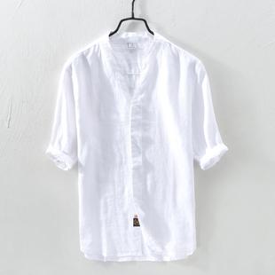 亚麻短袖衬衫男夏季宽松薄款中国风男装汉服领上衣青年麻布衬衣服