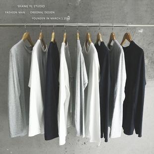 长袖T恤男纯色打底衫白色纯棉宽松圆领百搭青少年学生秋季衣服潮