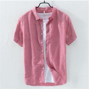 纯色短袖亚麻衬衫男士青年夏季宽松薄款日系复古简约方领棉麻衬衫