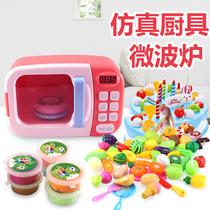 厨房玩具女孩儿童做饭过家家7-10岁男孩微波炉仿真汉堡小家电烤箱