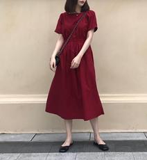 bay自制法式浪漫复古酒红方领高腰显瘦天丝棉长款连衣裙