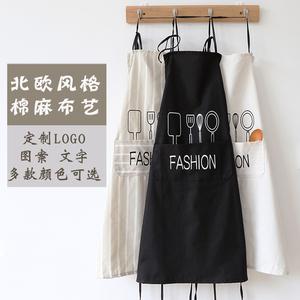 北欧风格围裙韩版棉麻清洁工作无袖可爱时尚厨房围裙定制logo包邮