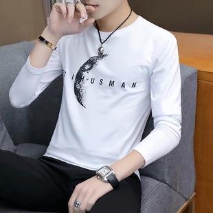 2019春季新款长袖t恤男士纯棉打底衫白色体恤韩版小衫男装上衣服
