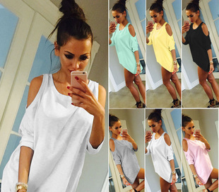 women t-shirt off shoulder strap loose tops ouse