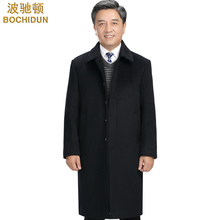 Medium-aged cashmere wool wool overcoat Men's winter long knee windbreaker Middle-aged dad's suit Ni jacket thickened