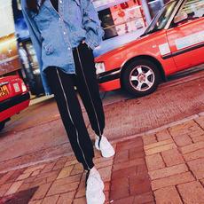 春装新款韩版拉链抽绳松紧腰黑色运动裤女宽松休闲百搭长裤哈伦裤