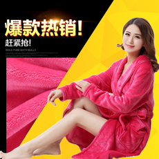 女浴袍睡袍秋冬款法兰绒珊瑚绒加长加厚韩版甜美可爱家居服睡衣