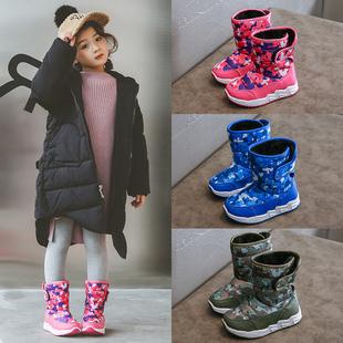 儿童雪地靴男女童靴子2018新款冬季短靴防水防滑加绒棉鞋保暖鞋潮
