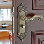 欧式室内执手锁家用静音机械门锁守痉棵潘具五卧室把手三件套