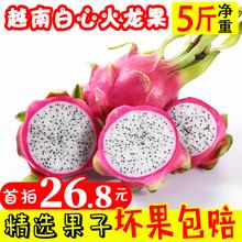 越南进口白肉火龙果当季新鲜水果5斤净果批发热带现摘现发 包邮