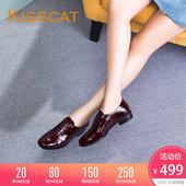 KISSCAT接吻猫秋新款亮泽漆皮休闲系带低跟深口单鞋女KA87513-50