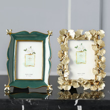 收获小屋欧式美式复古金色银杏叶子6寸相框画框家居饰品摆件 包邮
