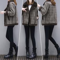 2017新款女装冬装宽松大码棉衣外套短款女加厚机车大衣格子棉袄短