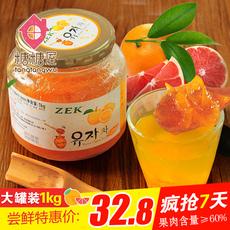 韩国原装进口 zek蜂蜜柚子茶1000g大罐装含果肉冲饮饮料 泡沫盒装