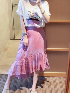 BORAKOO韩国东大门夏 香芋色棉麻圆点鱼尾荷叶边半身裙短裙