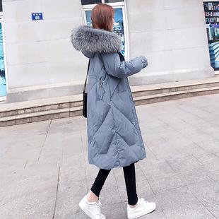 东大门大毛领中长款羽绒服女2018新款韩版白鸭绒时尚过膝加厚外套