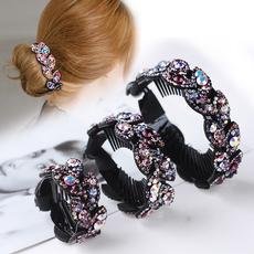 韩国丸子头发饰盘发器水钻扭夹花苞头发夹头饰扎头发饰品发圈发卡