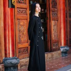 中式改良复古文艺黑色羊毛尼连衣裙打底裙新品女装秋冬混搭单品