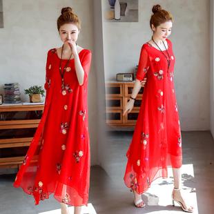 夏天棉麻布衣民族风刺绣假两件套装裙子过膝长裙仙女飘逸连衣裙。