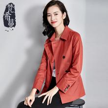 梵希蔓风衣女短款韩版简约2018春秋双排扣薄款修身百搭长袖外套女