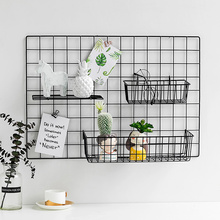 网格照片墙装饰ins铁艺房间墙上超市店铺家居用置物架子挂篮托盘