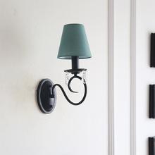 铁艺水晶美式壁灯客厅餐厅灯卧室灯布艺复古样板房家装 灯具灯饰