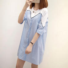 Pregnant women's summer dress fashion jacket small fresh stitching T-shirt medium-long shirt skirt large size pregnant women's dress