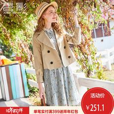 小外套女香影2018春装新款气质西装翻领短款风衣纯色休闲夹克修身