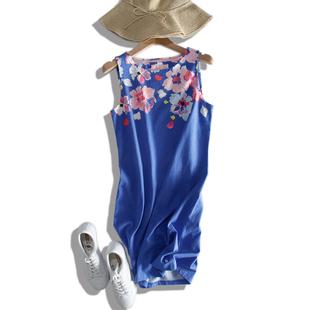 蓝底印花背心连衣裙子女大码吊带裙修身显瘦英伦风沙滩裙纯棉春夏