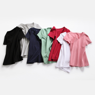 夏季新款2018修身显瘦纯棉短袖t恤女纯色学生大码黑白女半袖体恤