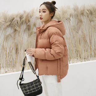 棉服女2018新款冬季时尚短款羽绒棉衣韩版轻薄前短后长小棉袄外套