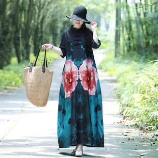 棉麻印花连衣裙女2019春装新款宽松中袖裙子复古民族风长裙袍子