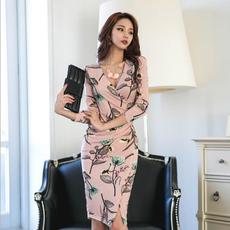 秋冬新品韩版印花V领修身包臀气质中长款收腰显瘦时尚打底连衣裙