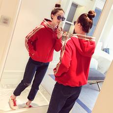 2018春装新款韩版休闲宽松百搭长袖上衣条纹连帽红色短款外套女潮
