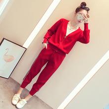 气质时尚 韩版 显瘦九分裤 针织两件套 小蚊子春装 2018新款 女时髦套装