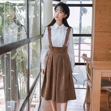 森日系文艺复古学院女生秋冬新款韩国ulzzang中长修身a字背带裙子
