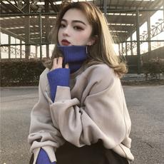 2017新款秋冬季学生宽松bf潮ulzzang加厚针织高领撞色套头 卫衣女