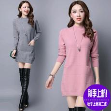 纤纤美衣 2016韩版宽松圆领长袖纯色针织衫女中长款打底衫毛衣潮