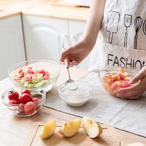 透明玻璃碗家用甜品水果沙拉碗大号耐热汤碗创意吃饭小餐具泡面碗